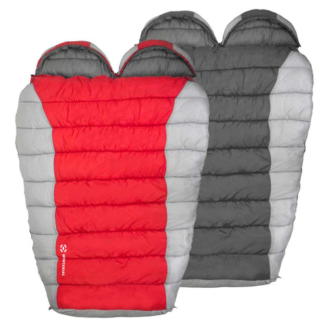 double mummy sleeping bags showing the 2 colors offered, red and grey