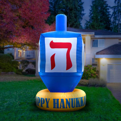 Inflatable Dreidel Hanukkah Decoration with Built-In Fan and LED Lights