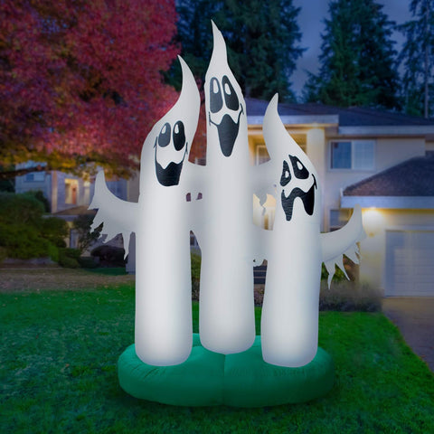 Inflatable Ghost Family Decoration with Built-In Fan and LED Lights