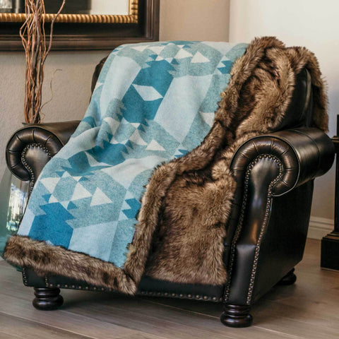 Moonstone Wolf Fur blanket on a chair