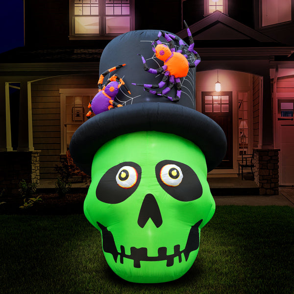 6 ft Inflatable Halloween Top Hat Skull Yard Decoration