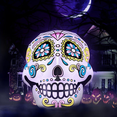 Inflatable Halloween Skull Decoration with Built-In Fan and LED Lights