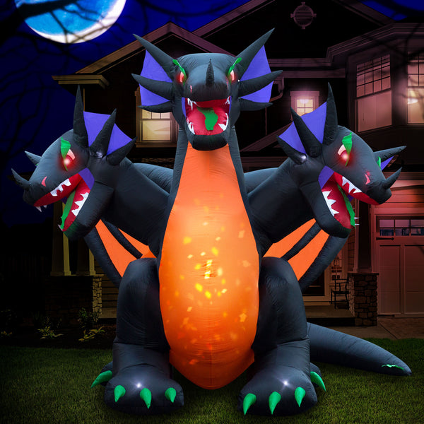 10 ft Inflatable Halloween 3-Headed Dragon Yard Decoration