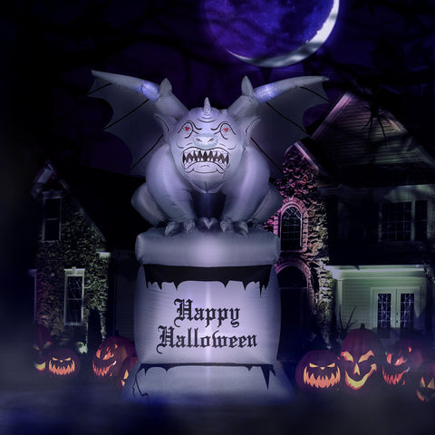 8 ft Perched Stone Gargoyle on Pedestal Halloween inflatable