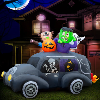 5.5 ft Inflatable Halloween Monster Hearse Yard Decoration
