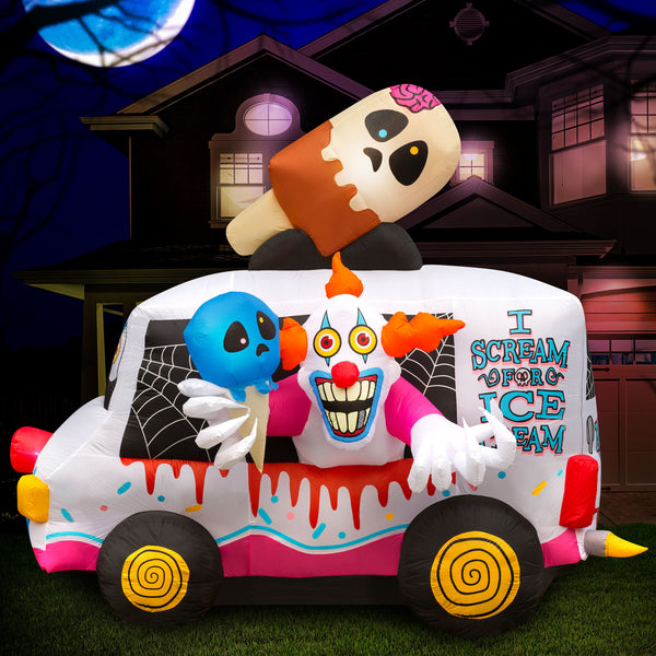 8 ft Inflatable Halloween Clown Ice Cream Truck Yard Decoration