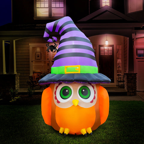 6 ft Inflatable Halloween Witch Owl Yard Decoration