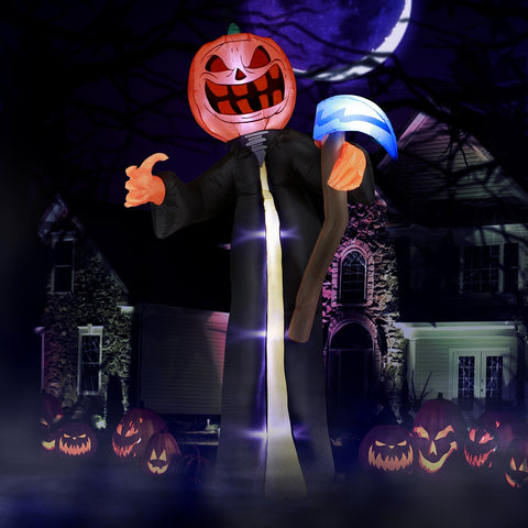 10 ft Pumpkin Head Reaper with Scythe Halloween Inflatable