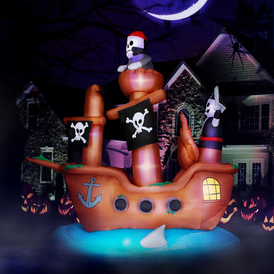 10 ft Wide Haunted Pirate Ship Halloween Inflatable