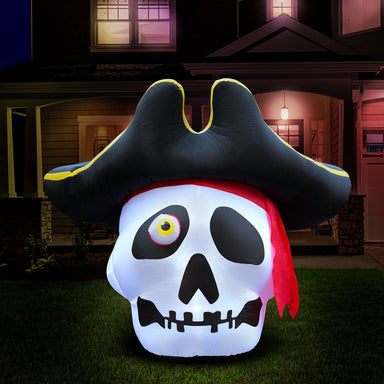 5 ft Inflatable Halloween Pirate Skull Yard Decoration