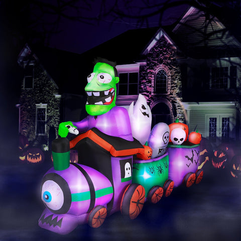 10 ft Long Runaway Graveyard Train Halloween Inflatable