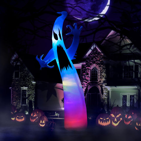 9 ft Ghost with  Multi-Colored Lights Halloween Inflatable
