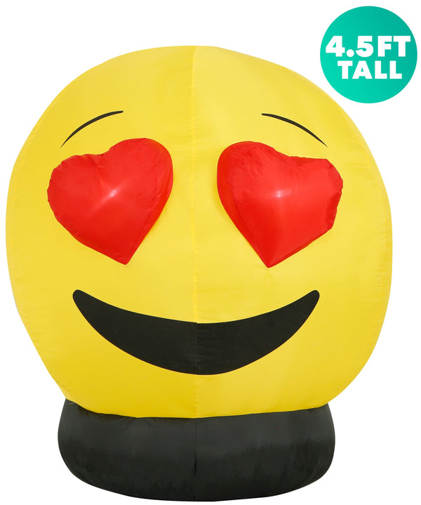 4.5 Ft Heart Eyes Emoji Inflatable Yard Decoration with Built-in Bulbs, Tie-Downs, and Fan