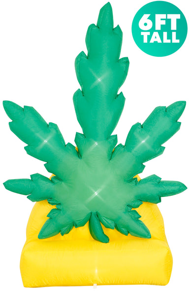 6 Ft Giant Pot Leaf Inflatable Yard Decoration with Built-in Bulbs, Tie-Downs, and Powerful Fan