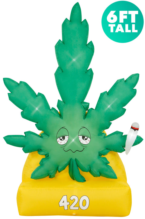 6 Ft Giant Weed Inflatable Yard Decoration with Built-in Bulbs, Tie-Downs, and Fan