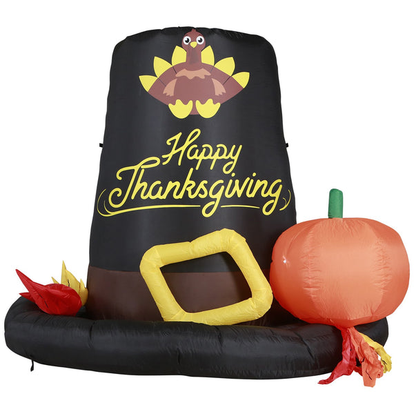 Inflatable Pilgrim Hat Thanksgiving Decoration with Built-In Fan and LED Lights
