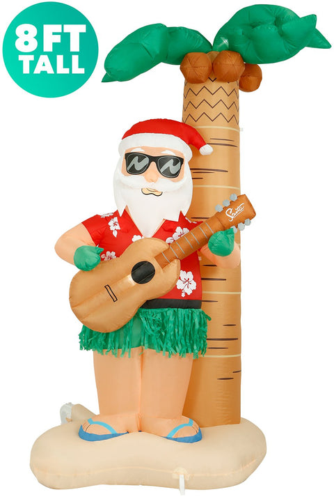 8 ft tall Christmas Hula Santa