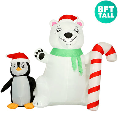 8 ft Polar Bear and penguin front view
