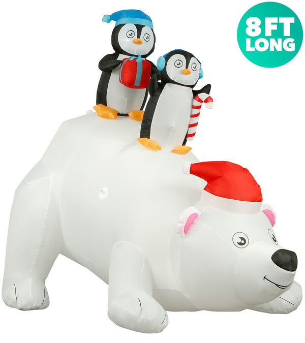 penguins on polar bear facing right