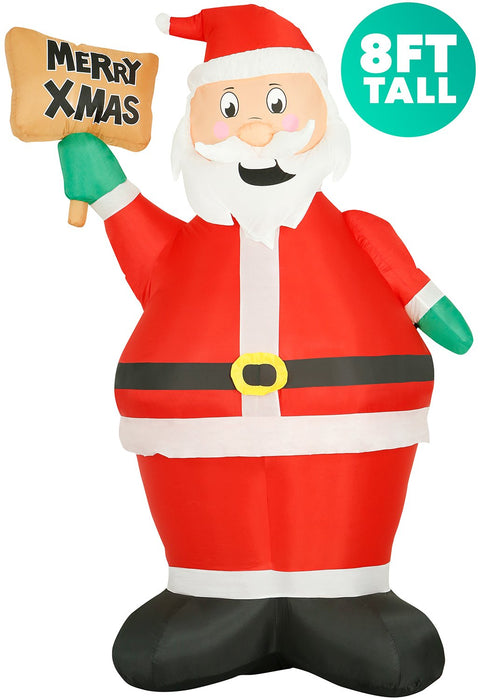 8 ft Inflatable Christmas Santa with Sign Outdoor Decoration