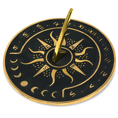 "Sunward 8.5"" Diameter Garden Sundial with Polished Brass Highlights"