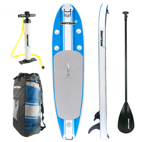 Complete  view set of Inflatable SUP 10' Stand Up Paddle Board Package.