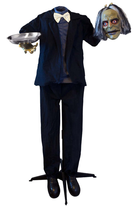4ft 9in Animatronics Standing Headless Butler with Candy Dish Prop Decoration