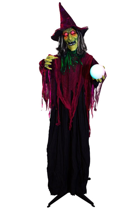 5ft 5in Animated Fortune Telling Witch with Crystal Ball Prop Decoration