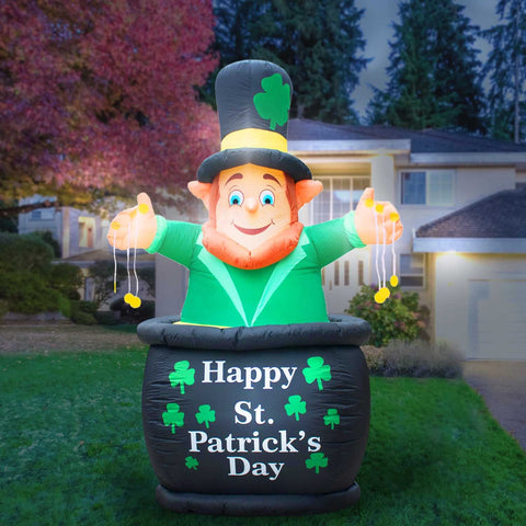 Inflatable Saint Patrick's Day Leprechaun in Pot of Gold Decoration with Built-In Fan and LED Lights