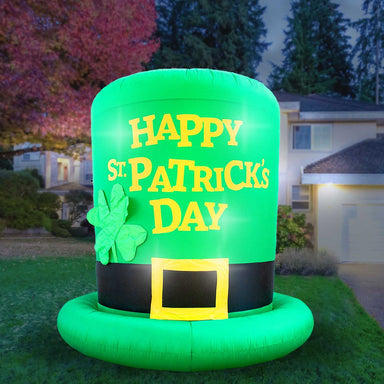 Inflatable St Patrick's Day Green Leprechaun Top Hat with Shamrock Decoration with Built-In Fan and LED Lights
