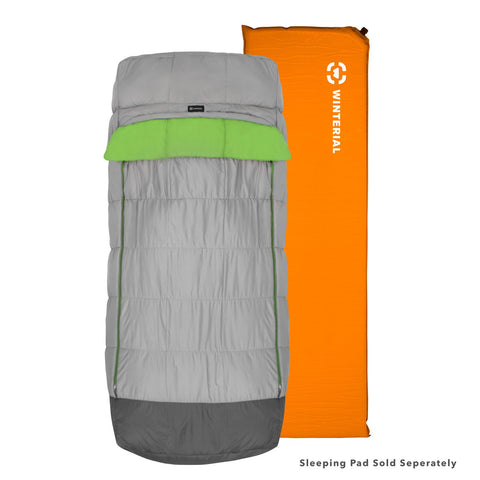 grey sleeping bag with sleeping pad sleeve