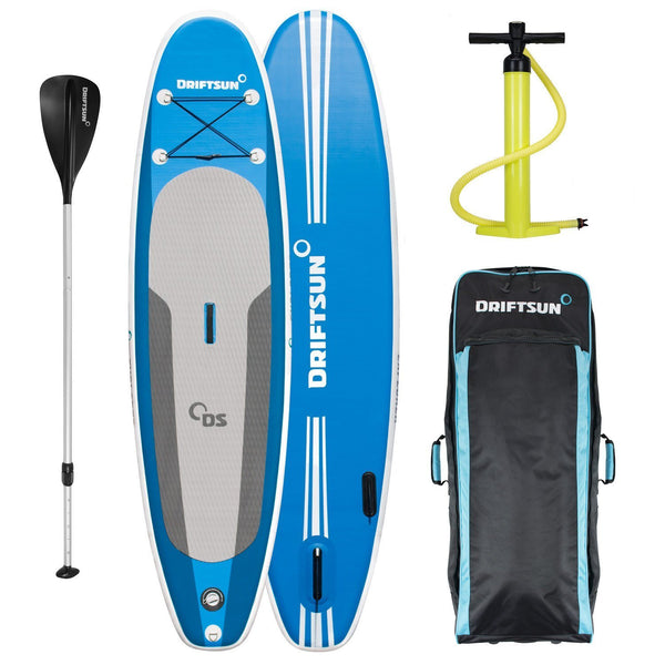 View of the Driftsun 10' Explorer Inflatable Paddleboard  - Deluxe Travel Bag with Backpack Straps and Rolling Wheels  - Dual Action High Pressure / High Volume Pump  - Lightweight /Collapsible Aluminum Paddle