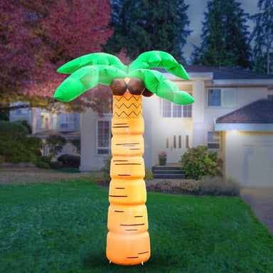 Inflatable Palm Tree with Coconuts Decoration with Built-In Fan and LED Lights