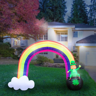 Inflatable St Patrick's Day Leprechaun in Pot of Gold at the End of the Rainbow Decoration with Built-In Fan and LED Lights