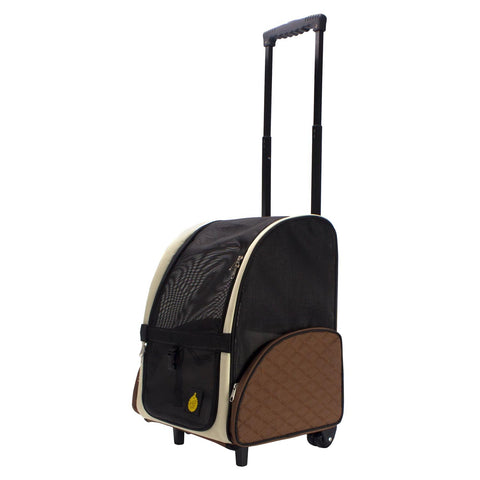 Angled view of rolling pet carrier with extended travel handle