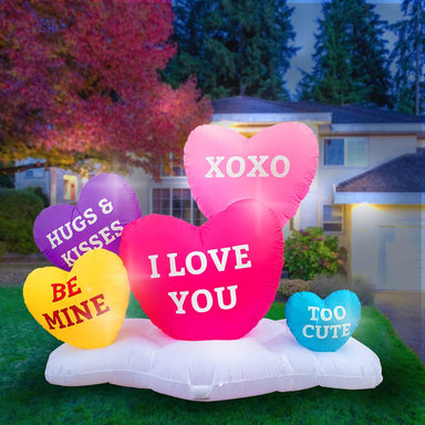 Inflatable Valentines Day Small Hearts Decoration with Built-In Fan and LED Lights