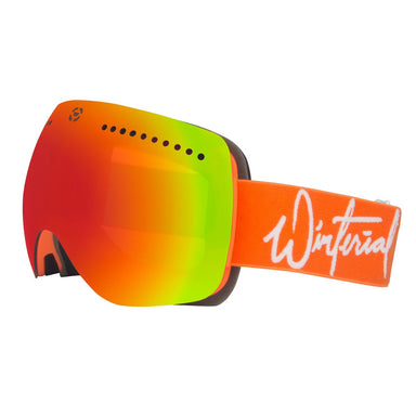 orange frameless magnetic snowboard and ski goggles with orange straps