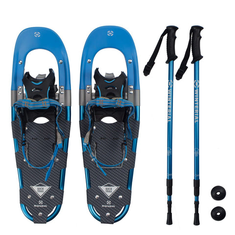 Winterial Back Trail Snowshoes 25-Inch Lightweight Hybrid Blue, Includes Poles and Carry Bag