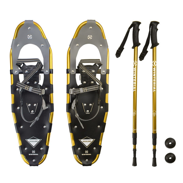 Winterial Highland 30-Inch Snowshoes - Gold - Includes Poles and Case