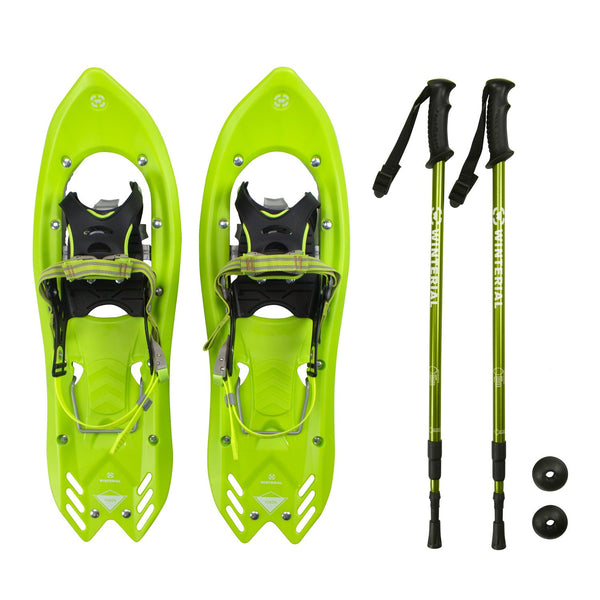 Winterial Yukon 25-Inch Lightweight All Terrain Snowshoes Men's, Green, Includes Poles, and Carry Bag