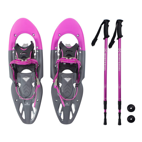 Winterial Alpine 25-Inch All Terrain Snowshoes Women's Pink, Includes Poles and Carry Bag