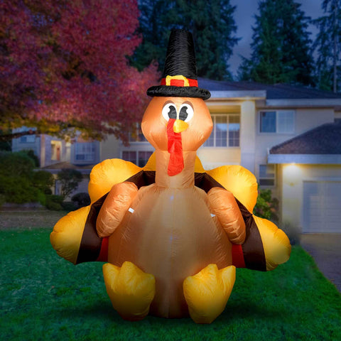 Inflatable Turkey with Pilgrim Hat Thanksgiving Decoration with Built-In Fan and LED Lights