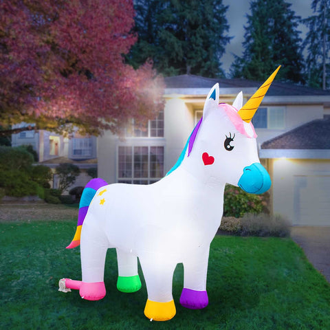 Inflatable Unicorn Decoration with Built-In Fan and LED Lights