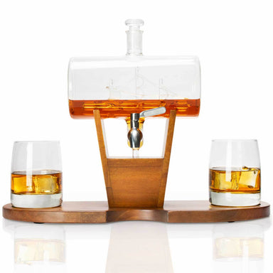 Whiskey Cylinder Sail Boat Decanter Set