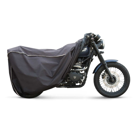 VUZ motorcycle cover on blue triumph scrambler