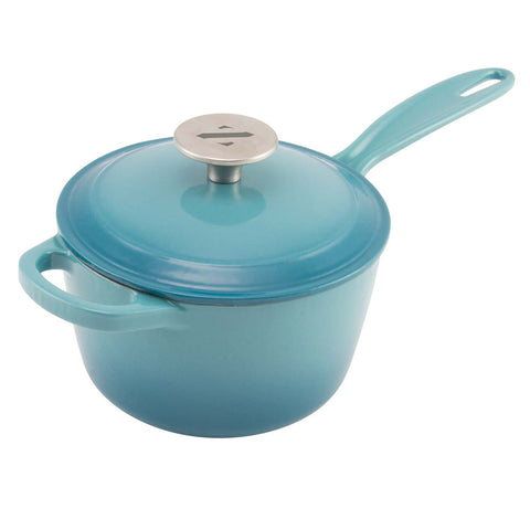2 quart enamel sauce pot with lid and stainless steel knob from zelancio shown in teal color