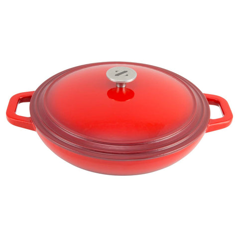 shallow 3 quart cooking dish from zelancio with loop handles and stainless steel knob