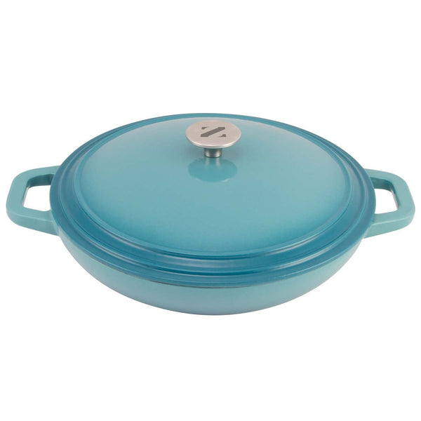 vibrant teal 3 quart casserole dish cast iron cooking pan