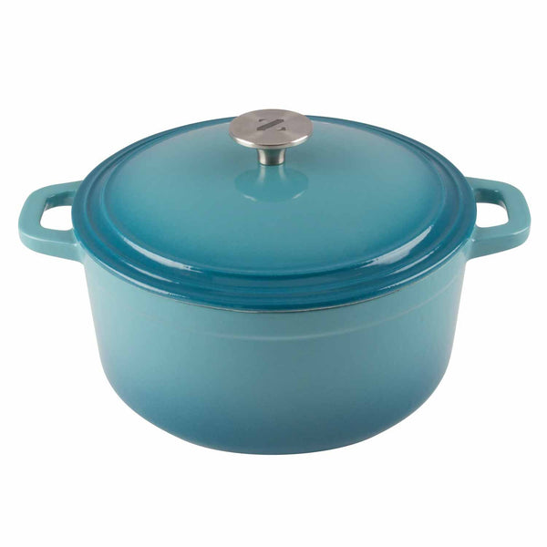 vibrant teal dutch oven with 3 quart capacity and stainless steel knob