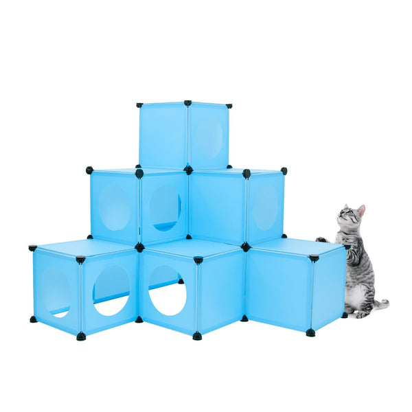 Blue DIY cat house pyramid design with cat